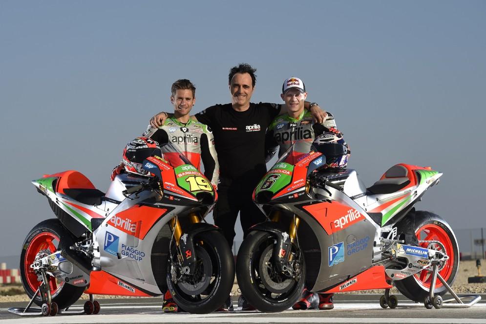 Romano Albesiano con i due piloti