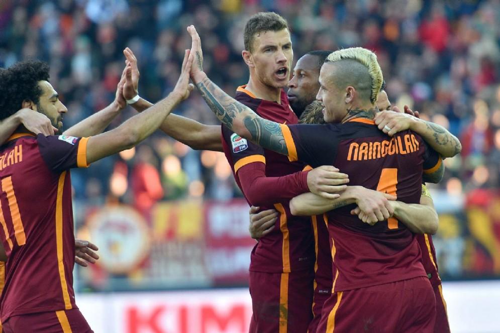 La Roma festeggia per la vittoria
