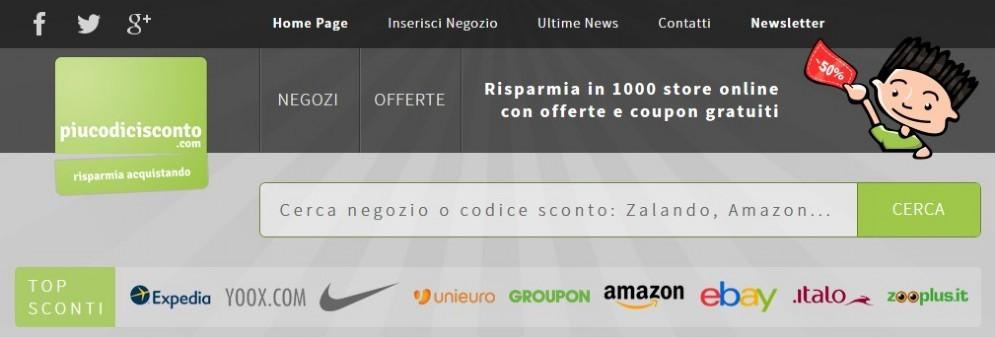 Home page del sito piucodicisconto.com