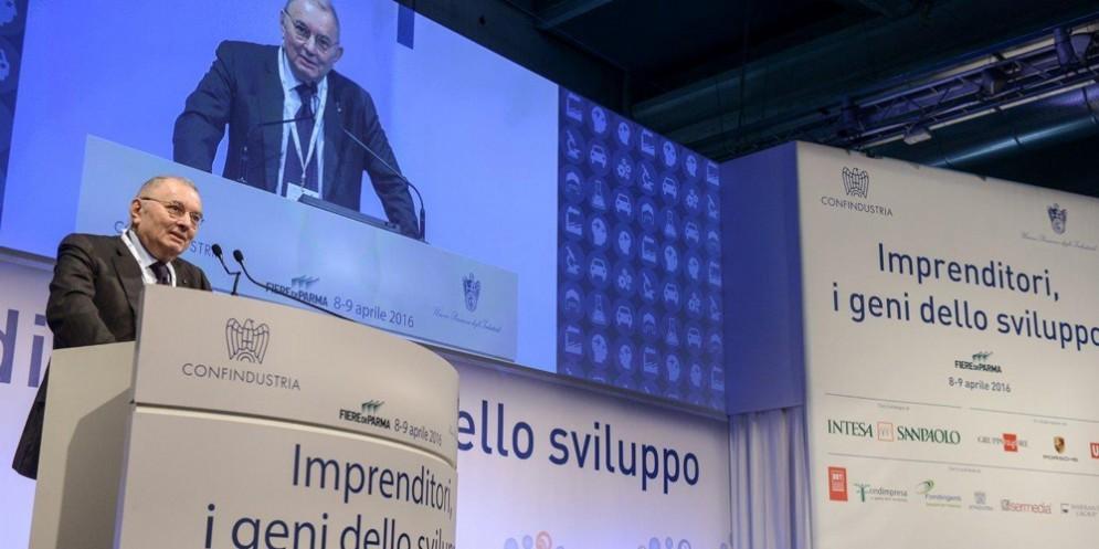 Il presidente Squinzi durante la sua ultima visita a Udine