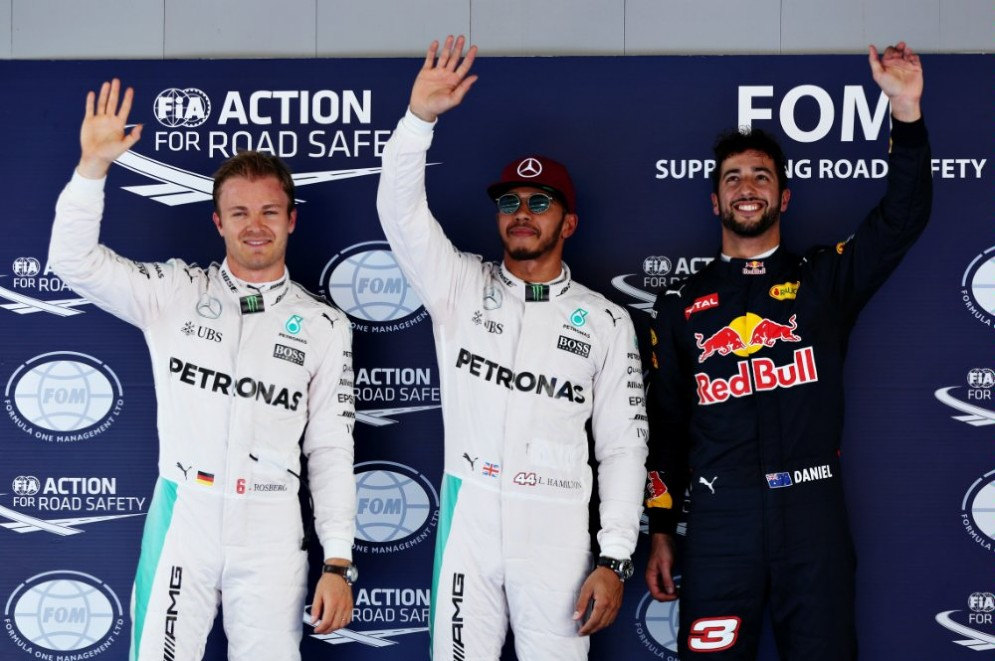 Hamilton, Rosberg e Ricciardo: il podio delle qualifiche