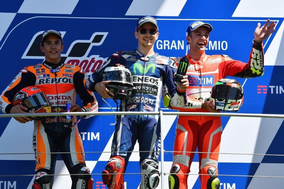 Il podio del GP d'Italia: Lorenzo, Marquez e Iannone