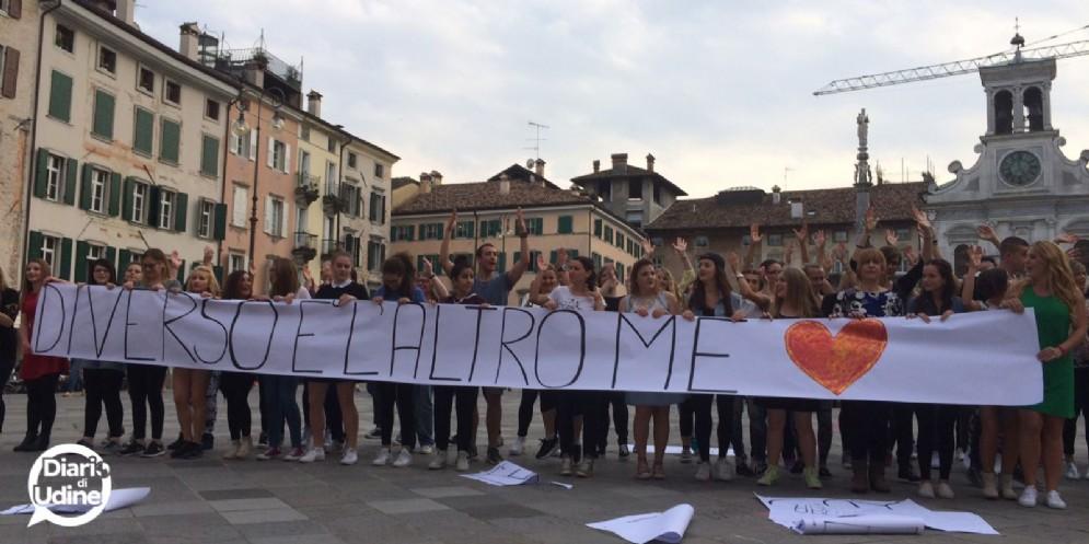 I protagonisti del flash mob a Udine