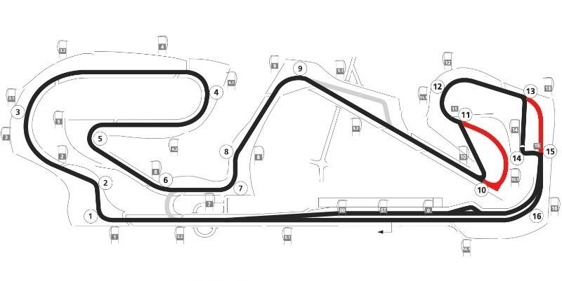 Il nuovo layout del circuito (in rosso quello vecchio)