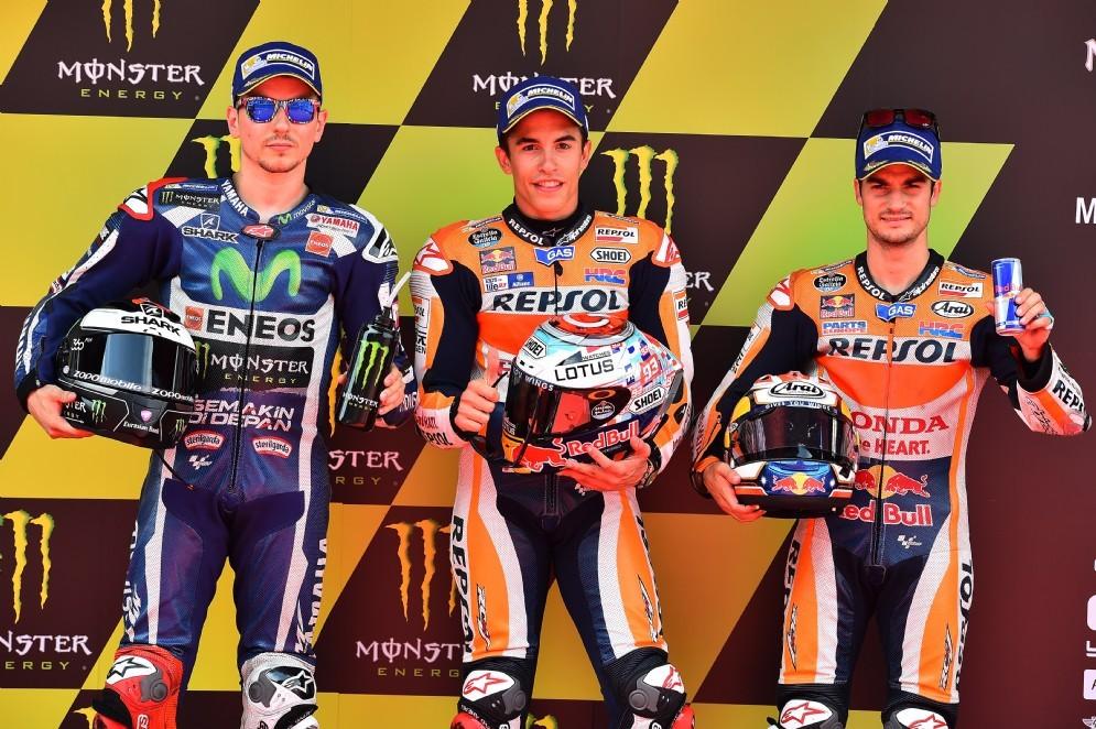 La prima fila del GP di Catalogna: Marquez, Lorenzo e Pedrosa