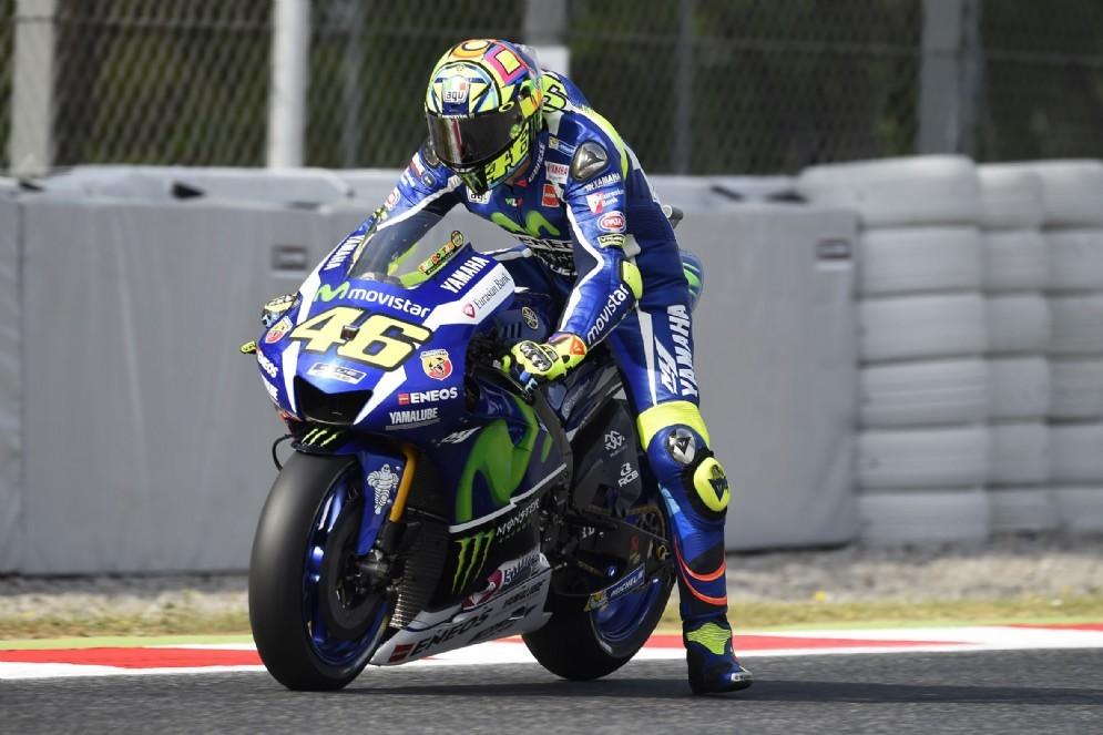 Valentino Rossi in azione a Barcellona