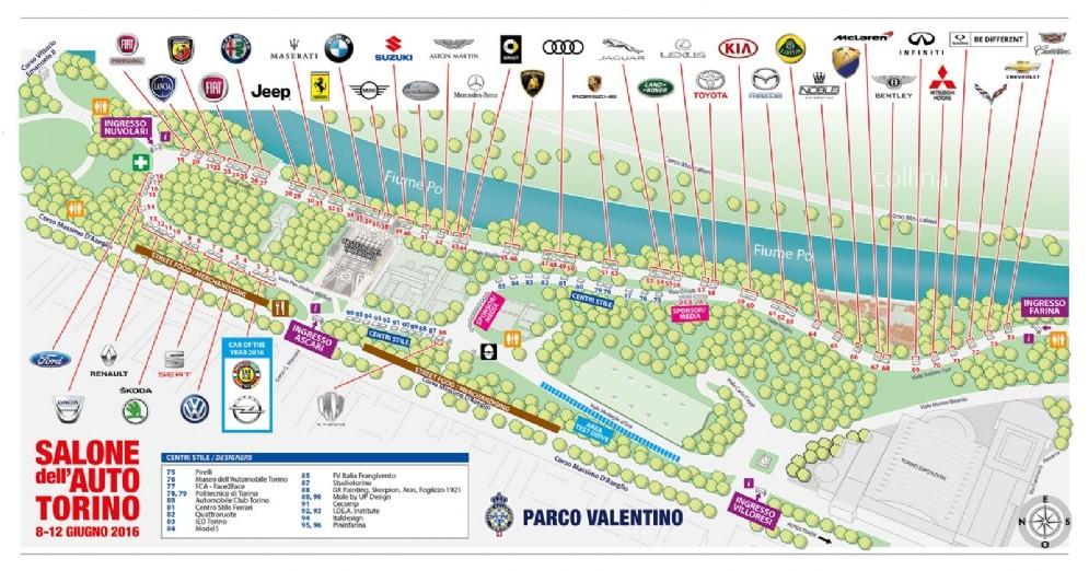 La mappa dell'edizione 2016 del Salone Parco Valentino