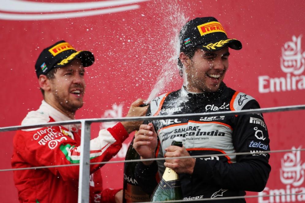 Perez sul podio con Sebastian Vettel