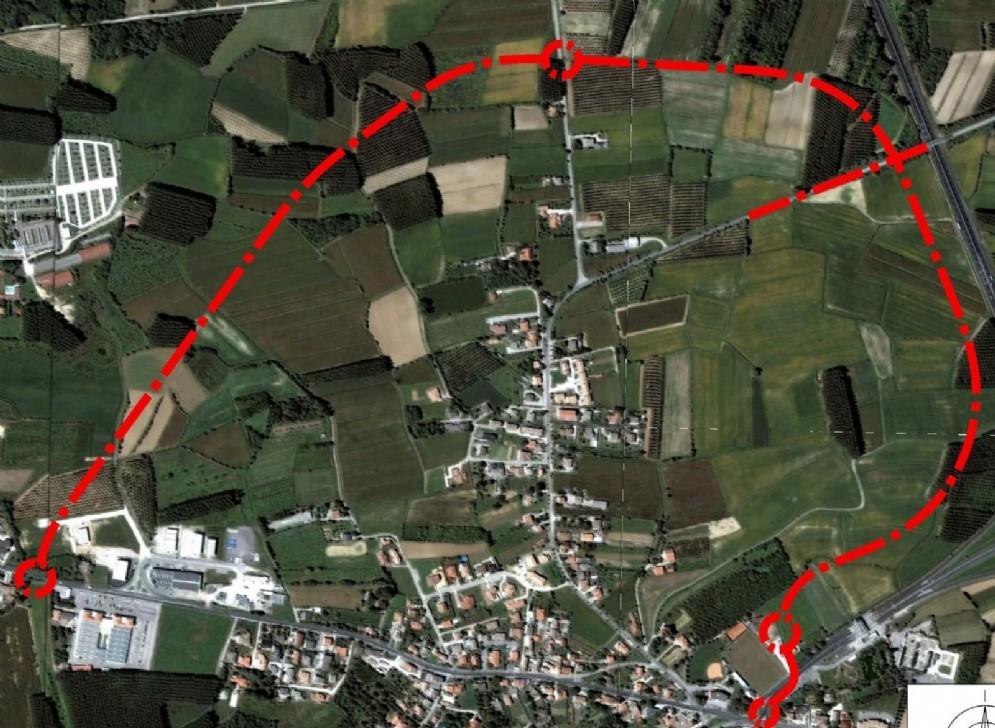 Il tracciato della variante di Porpetto