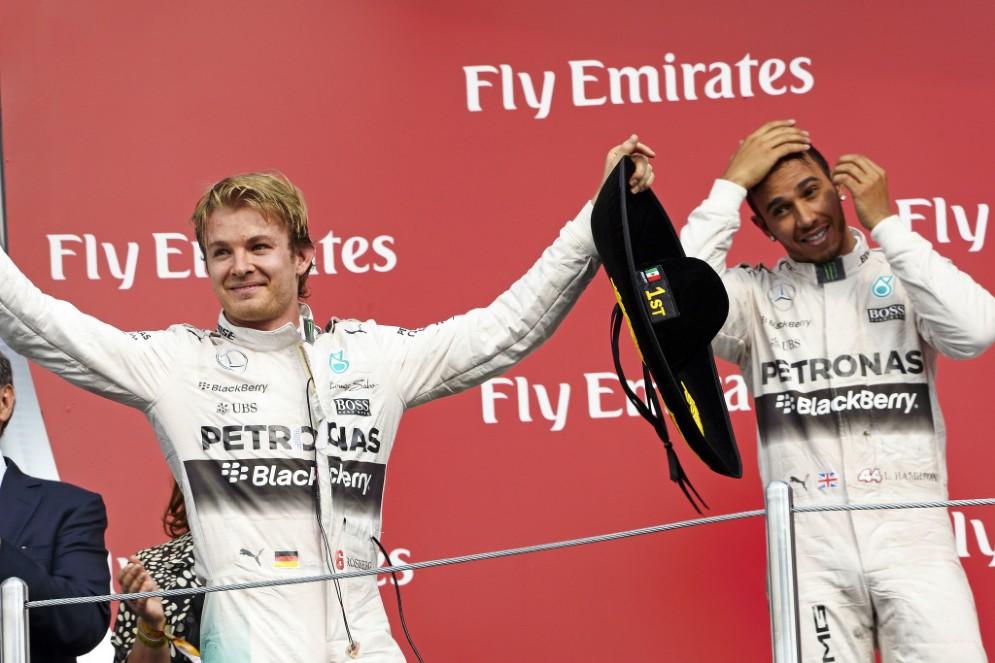 Hamilton e Rosberg sul podio