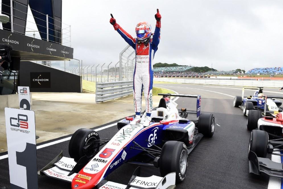 Antonio Fuoco festeggia il successo in GP3 a Silverstone