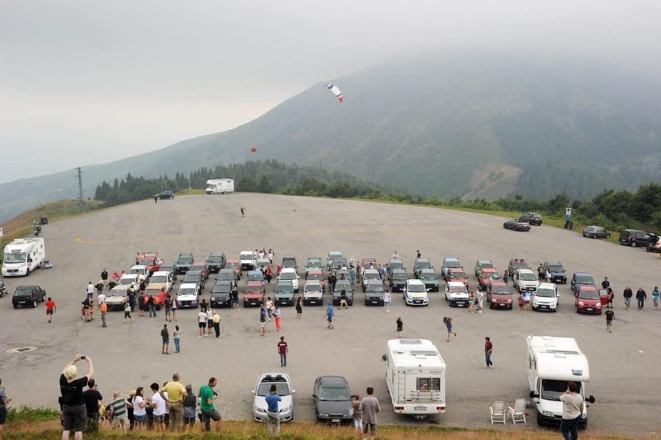 Le auto partecipanti al 1° Raduno Fiat Panda del Biellese a Bielmonte
