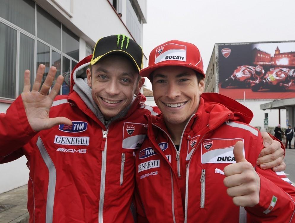 Valentino Rossi e Nicky Hayden quando furono compagni di squadra