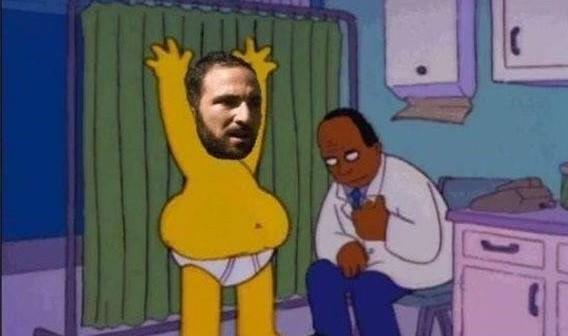 Gonzalo Higuain, paragonato a Homer Simpson