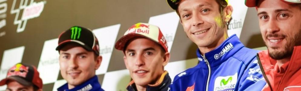 Jorge Lorenzo, Marc Marquez e Valentino Rossi in conferenza stampa
