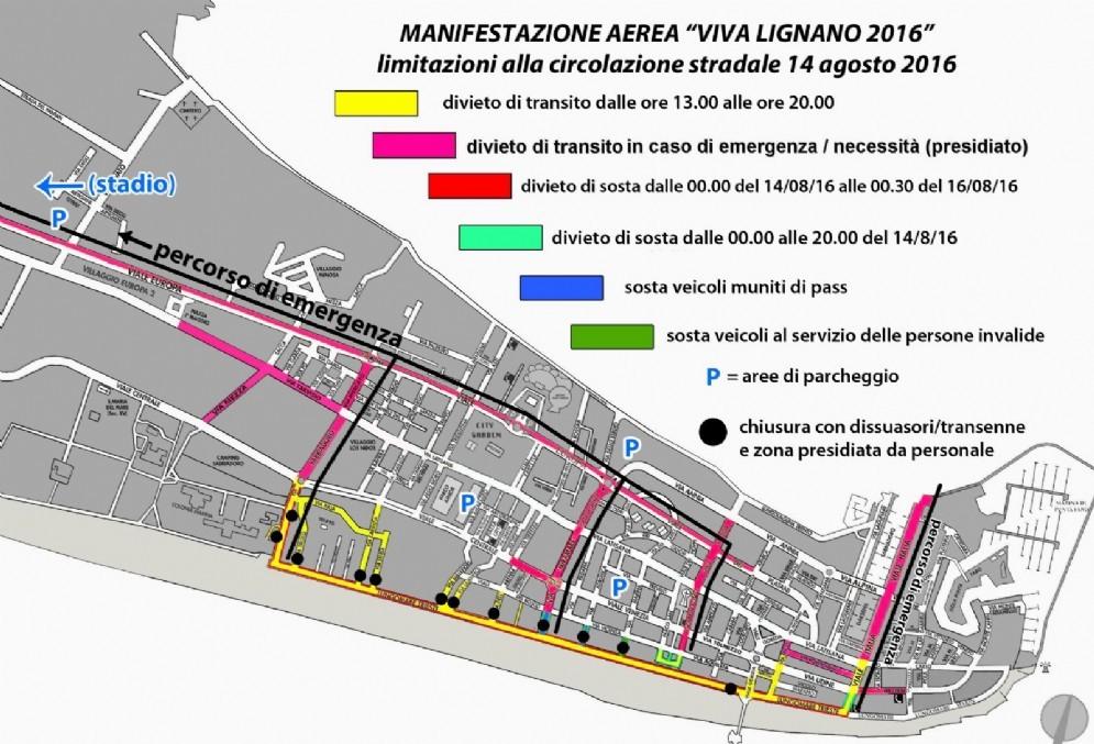 La piantina stradale con le modifiche alla viabilità in occasione dell'Air Show delle Frecce Tricolori