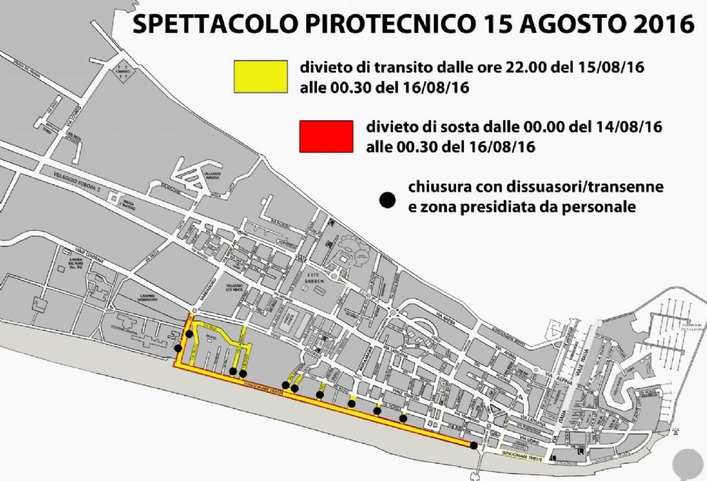 La piantina stradale con le modifiche alla viabilità in occasione delle spettacolo pirotecnico