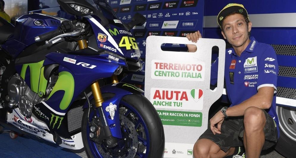 Valentino Rossi a favore dei terremotati del centro Italia