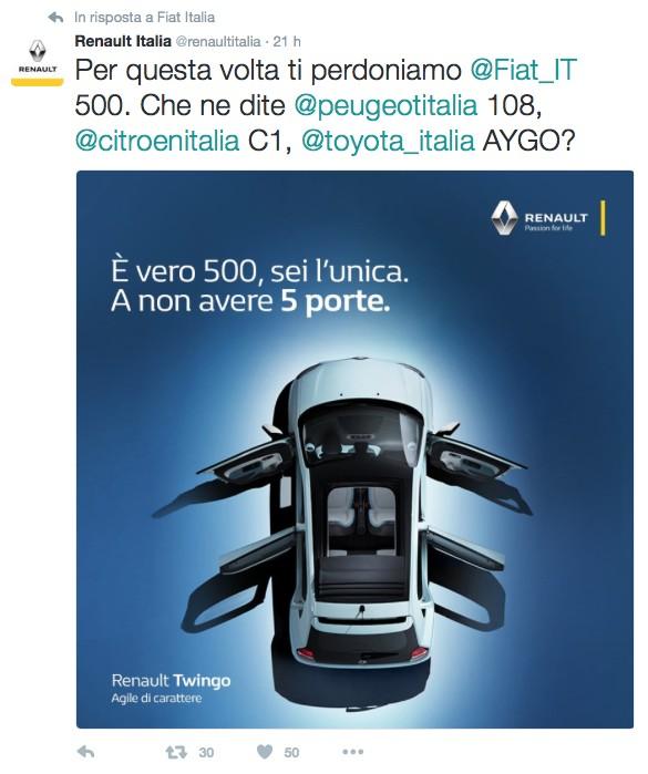 Renault: E' vero 500, sei l'unica. a non avere 5 porte.