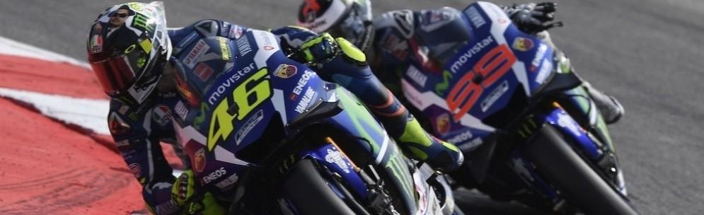 Il sorpasso di Valentino Rossi a Jorge Lorenzo a Misano