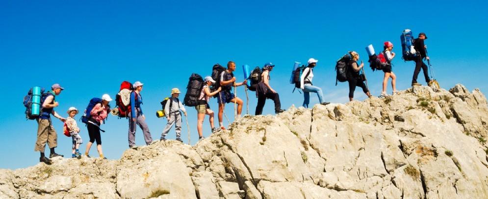 Escursionisti sulle montagne biellesi