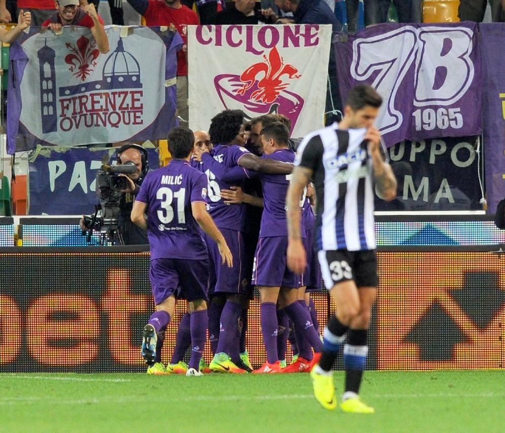 I giocatori bianconeri durante la sfida con la Fiorentina