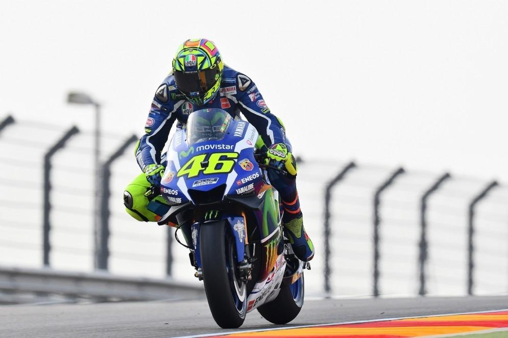 Valentino Rossi in azione ad Aragon