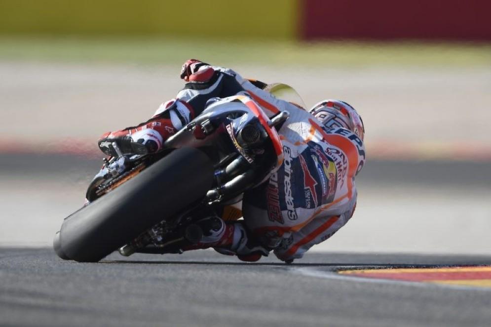 Marc Marquez in azione ad Aragon