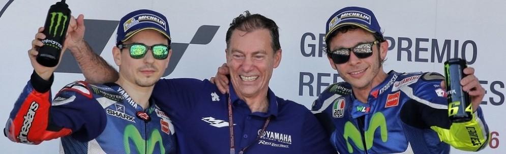 Lin Jarvis con Valentino Rossi e Jorge Lorenzo