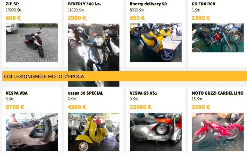 Uno dei tanti siti dove i privati vendono motocicli