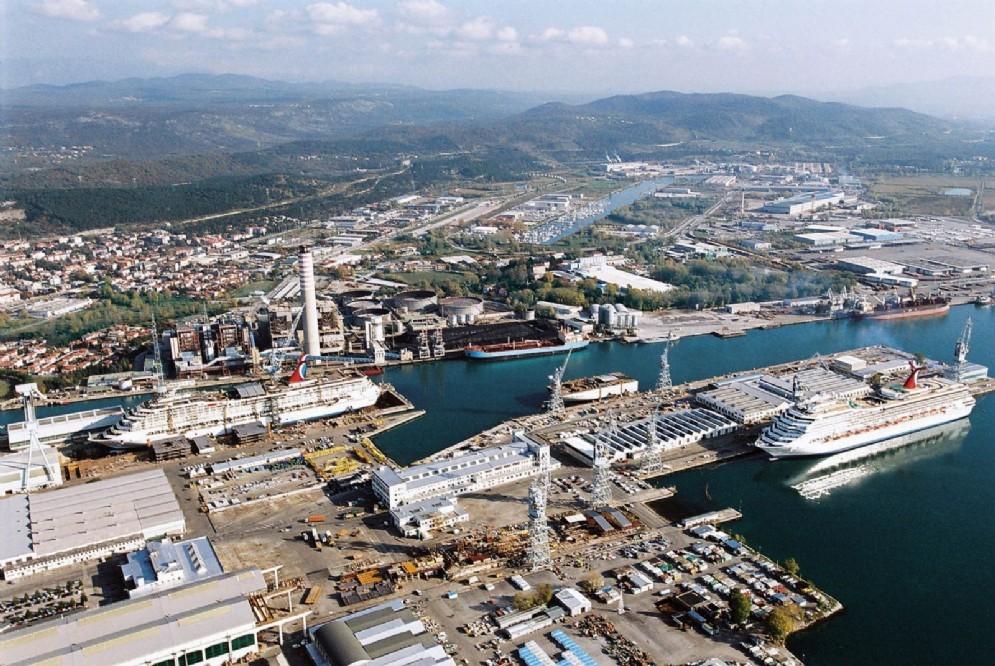 L'area del cantieri navali a Monfalcone