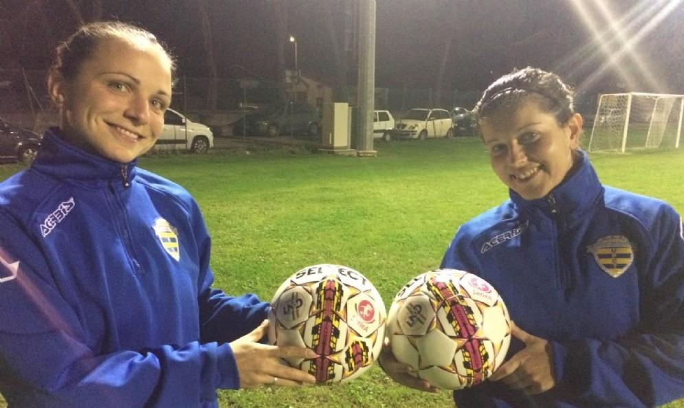 Martinelli e Del Stabile con i nuovi palloni ufficiali