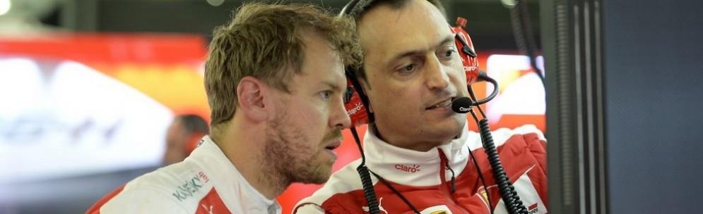 Sebastian Vettel con il suo ingegnere di pista Riccardo Adami