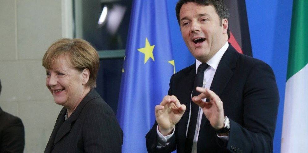La cancelliera tedesca Angela Merkel con il premier Matteo Renzi.