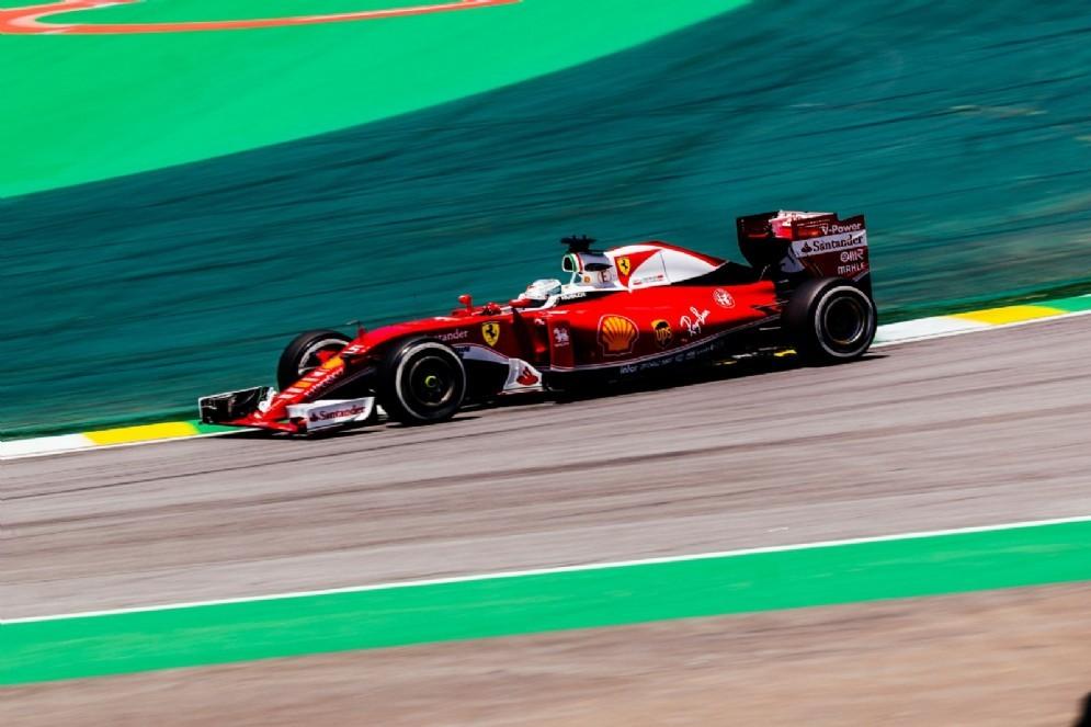 Sebastian Vettel in azione a San Paolo