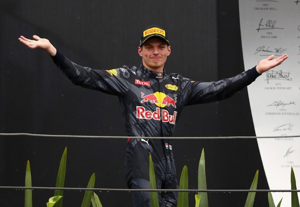 Max Verstappen sul podio del Gran Premio del Brasile