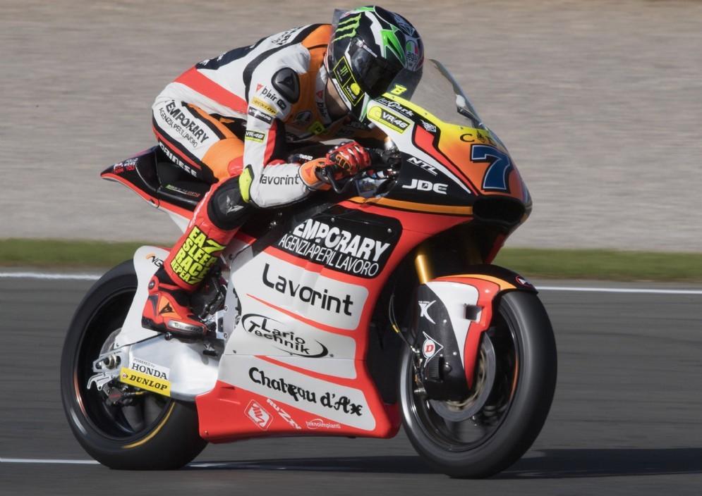 Lorenzo Baldassarri in azione nei test di Jerez