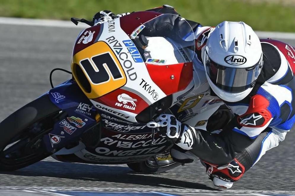 Romano Fenati in azione nei test di Jerez