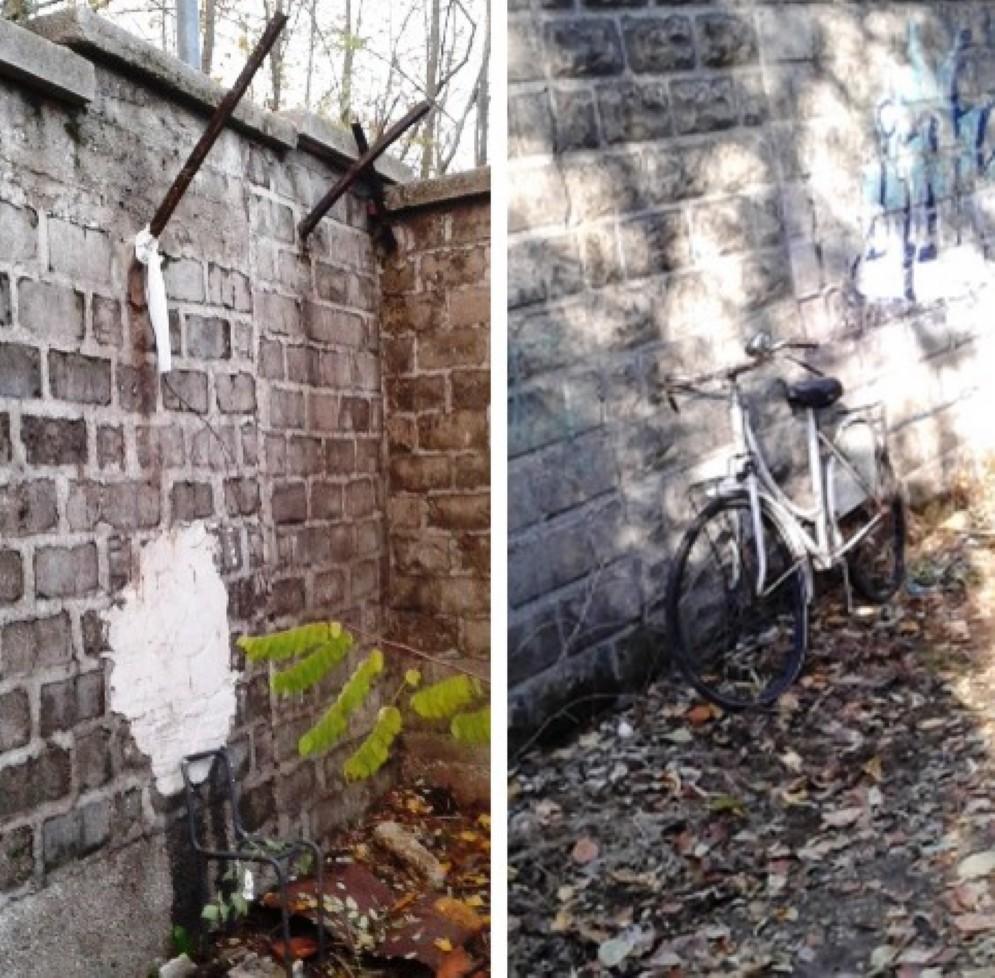 Una sedia e una bici utilizzate per scavalcare il muro della caserma