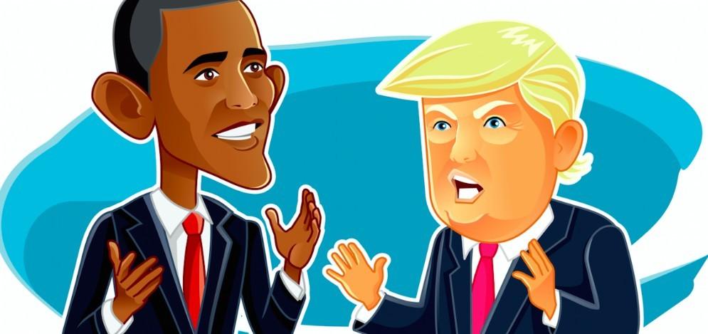 Il neopresidente Usa Donald Trump e Barack Obama in una caricatura