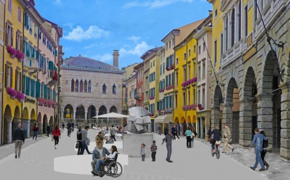 Ecco come sarà la nuova via Mercatovecchio (© Comune Ud)