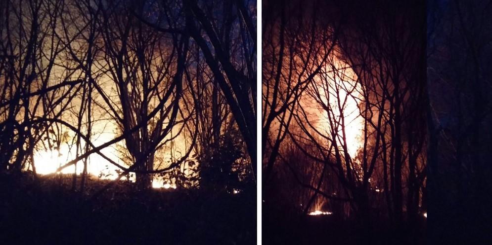 L'incendio scoppiato nei pressi di Faedis