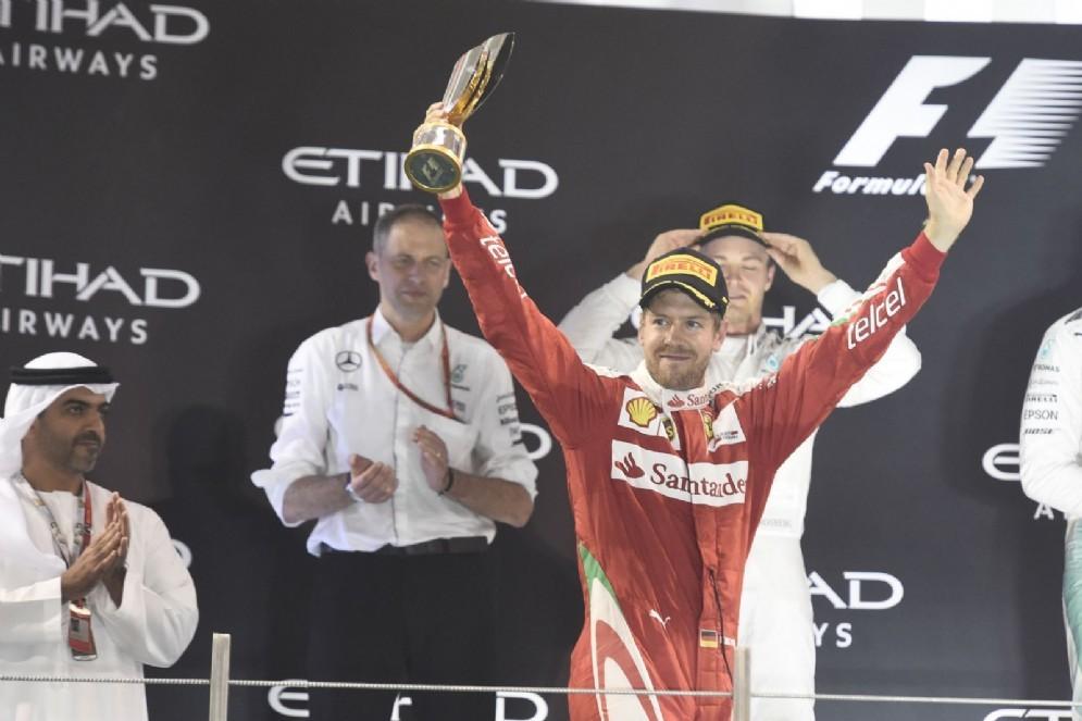 Sebastian Vettel sul podio