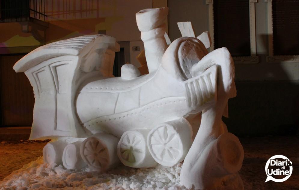 Snow Art Pontebba: conclusa la seconda edizione, vince il Pavone, qui la statua della Slovenia