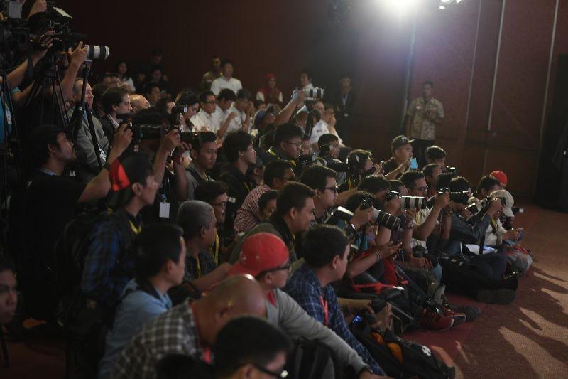 I giornalisti e i fotografi presenti all'evento