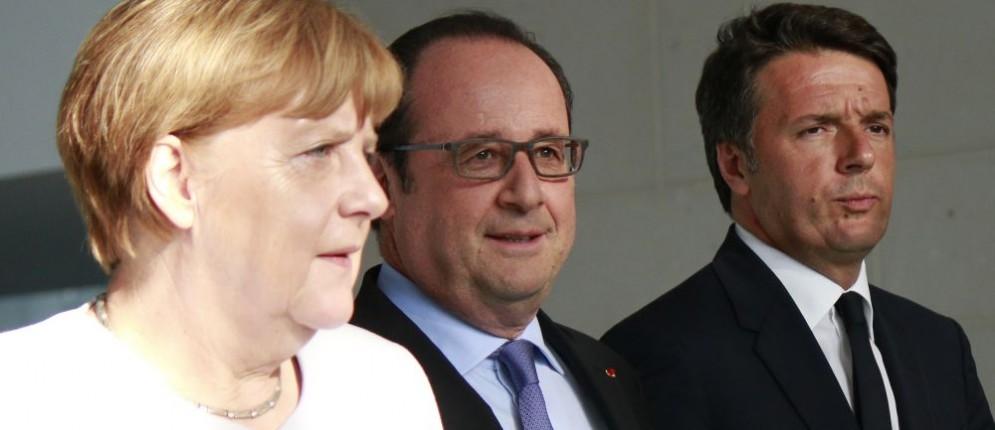 Angela Merkel, Francois Hollande e Matteo Renzi.
