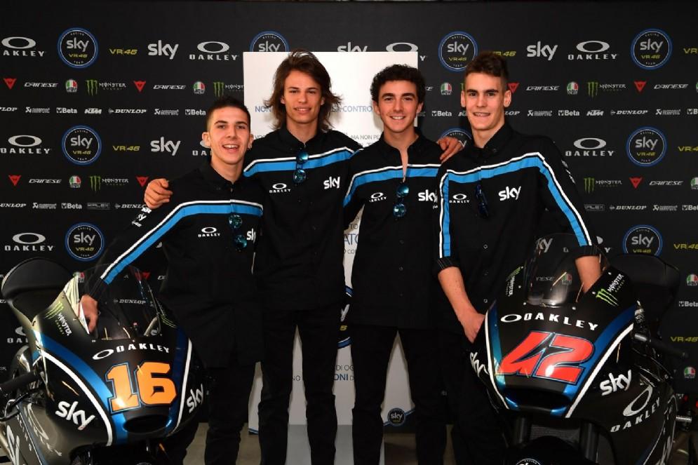 I quattro piloti del team Sky Vr46: Migno, Bulega, Bagnaia e Manzi
