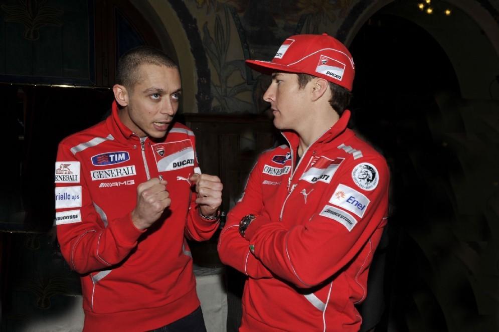 Rossi con Nicky Hayden all'epoca della Ducati