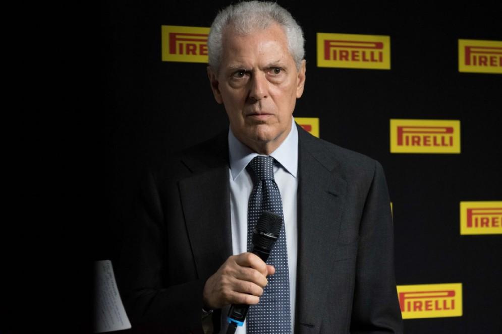 Tronchetti Provera parla alla cerimonia al Museo dell'automobile di Torino