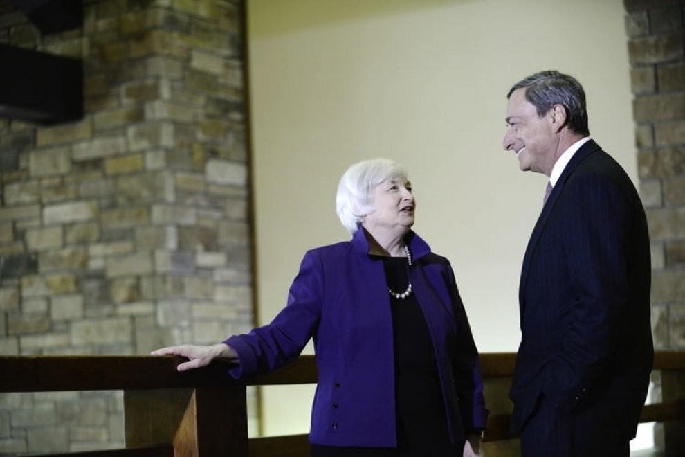 La presidente della Fed Janet Yellen e il presidente della Bce Mario Draghi